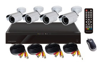 Surveillance Camera Kit: 4CH DVR and 4 Bullet Cameras