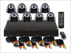 Surveillance Camera Kit: 8CH DVR and 8 Dome Cameras