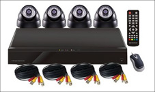 Surveillance Camera Kit: 4CH DVR and 4 Dome Cameras